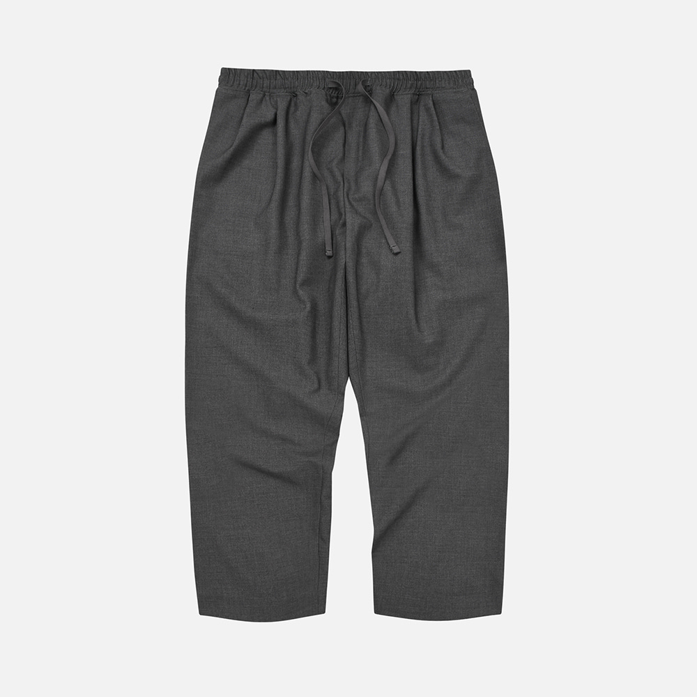 Wool two tuck relax pants _ charcoal
