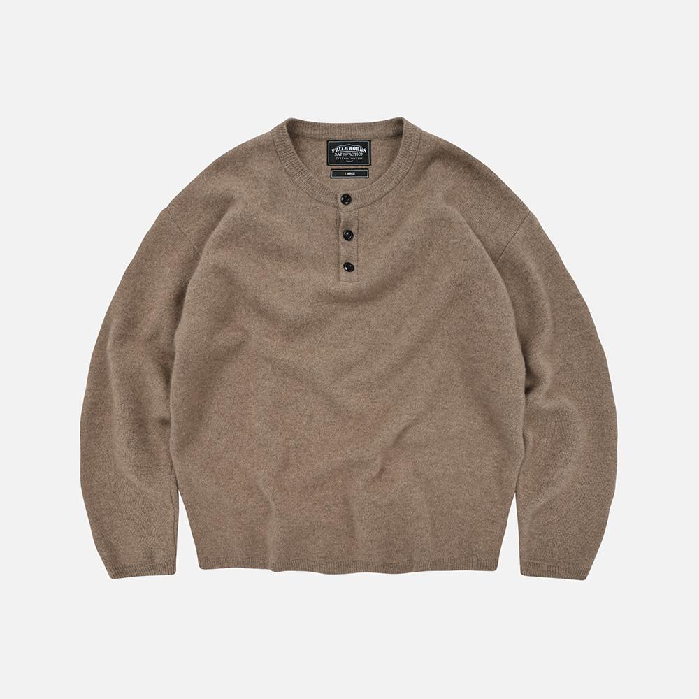 Cashmere henry neck knit _ dust beige