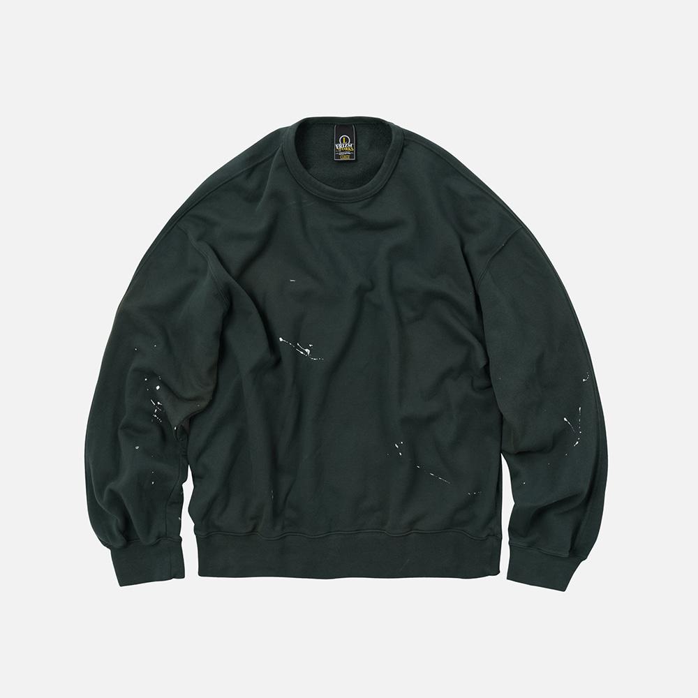 Splash painting sweatshirt _ dark green