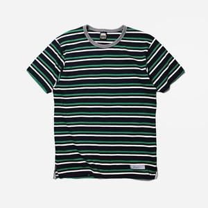 Multi stripe tee _ navy/green