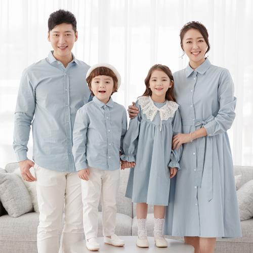 그레이스 패밀리룩 스카이블루 셔츠 가족티 가족커플룩 돌촬영패밀리룩 가족남방 가족사진의상 돌촬영 돌사진의상