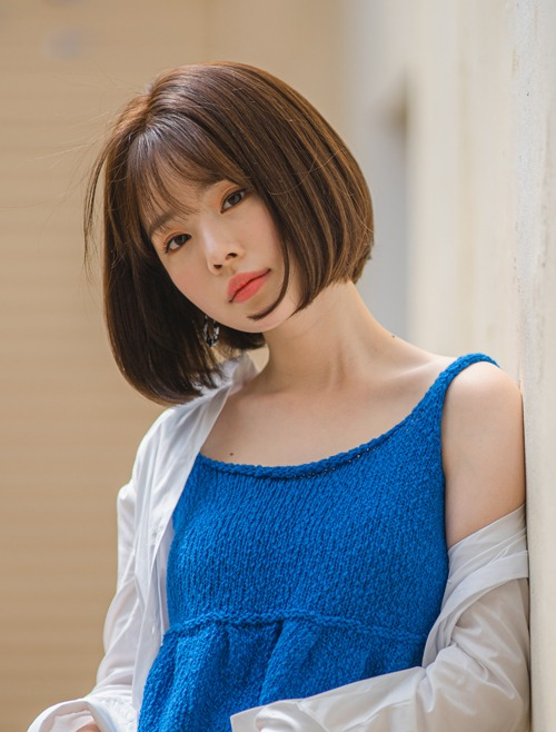 Human Hair 100% Full Wig  See-through Bangs Medium Bob Cut