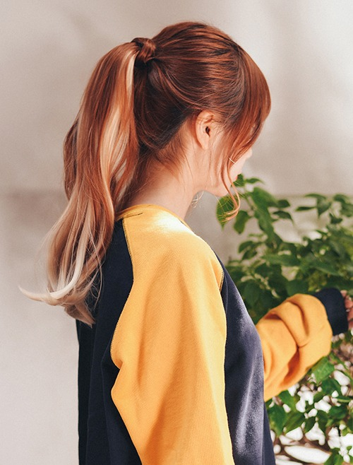 Velcro Rolling Ponytail Wig Two-tone Ombre C-curl 40cm
