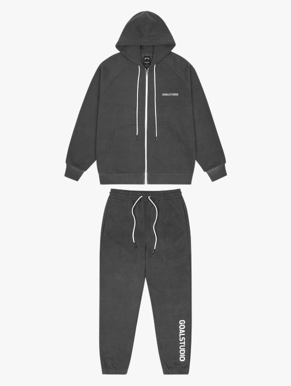 [20% OFF] SIGNATURE LOGO PIGMENT DYED FULL ZIP-UP HOODIE & LETTERING JOGGER SETS - CHARCOAL
