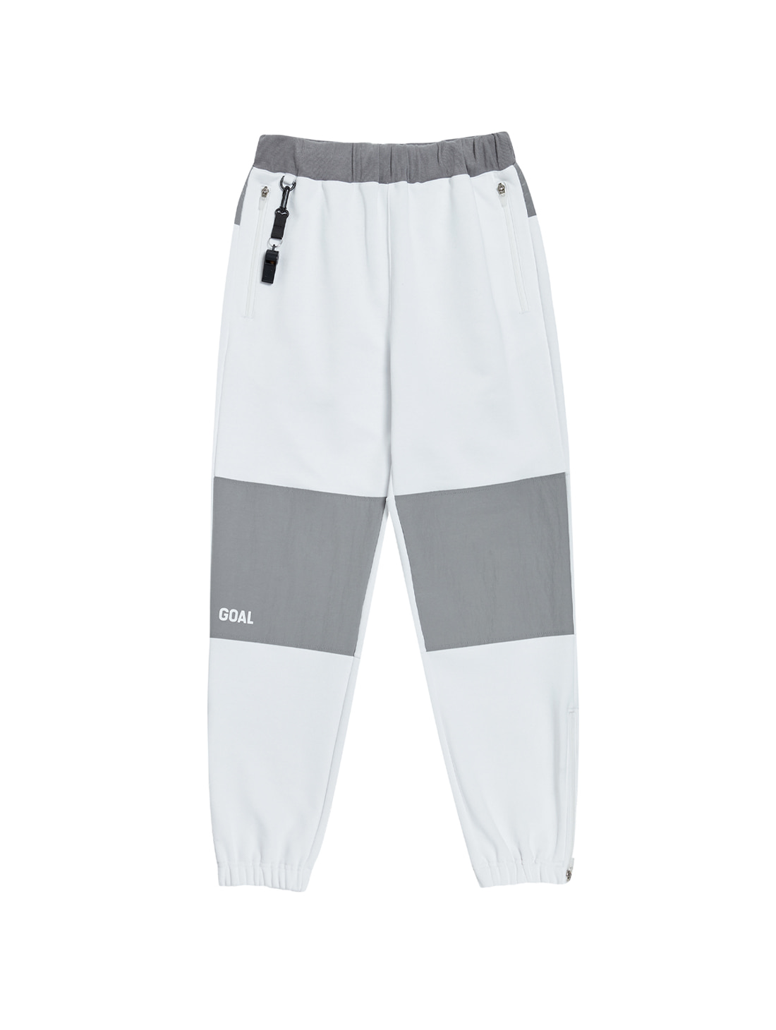 NYLON METAL MIXED TRACK PANTS - WHITE