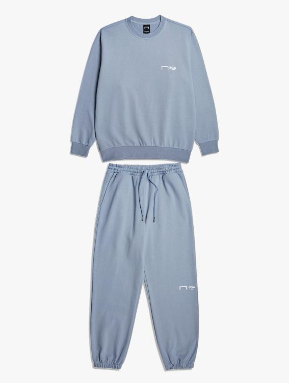 GOALSTUDIO [10% OFF] SIGNATURE LOGO SWEATSHIRT & PANTS SET - BLUE GREY