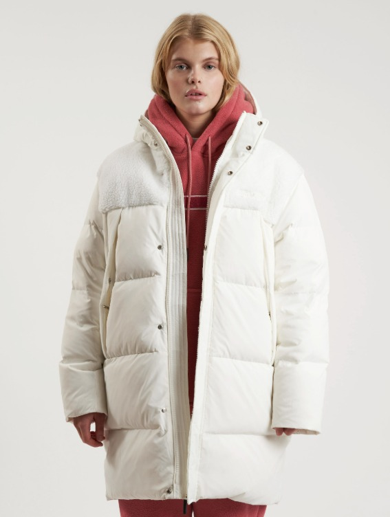 GOALSTUDIO SHERPA FLEECE PATCHED RDS DOWN JACKET - WHITE