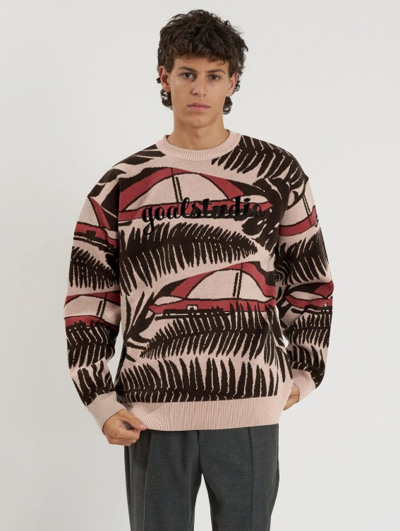 GOALSTUDIO WHO KNOWS ALL OVER PATTERN SWEATER - PINK