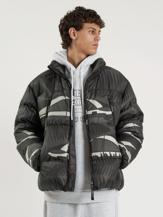 GOALSTUDIO WHO KNOWS ALL OVER PATTERN RDS PUFFER DOWN JACKET