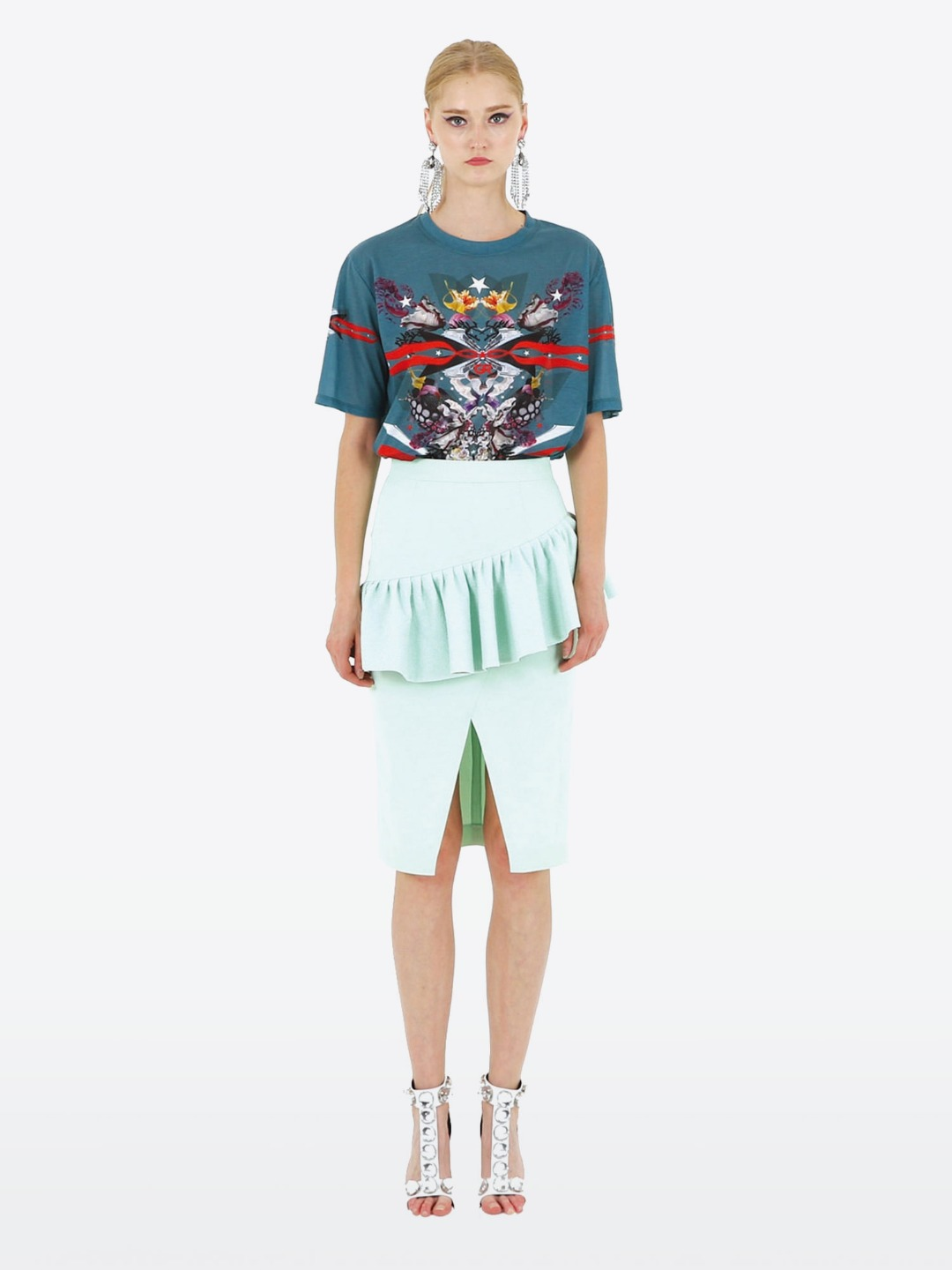 19SS FLOWER ONE POINT GREEN T-SHIRTS