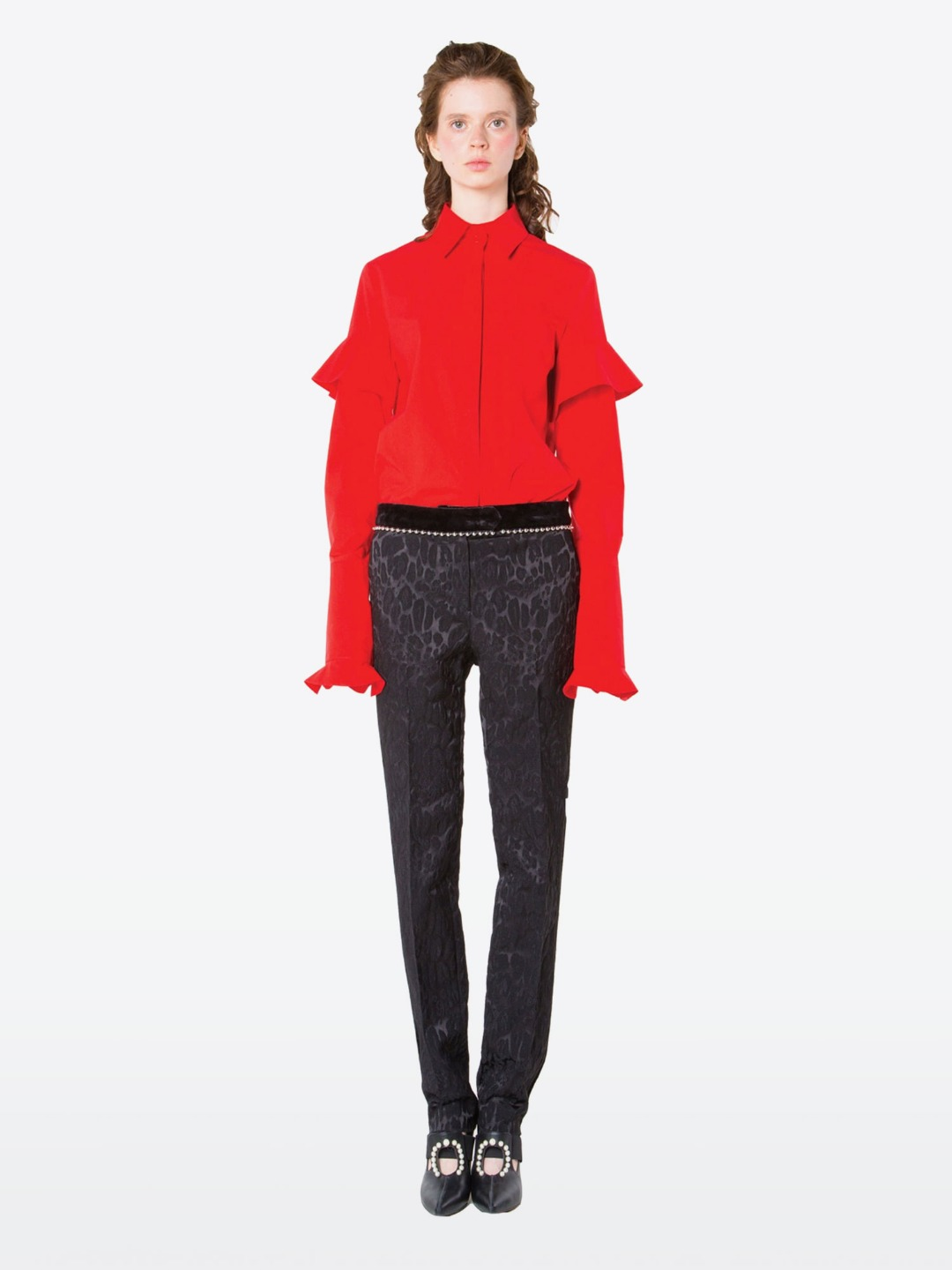 RUFFLE SELEEVE RED SHIRTS BLOUSE
