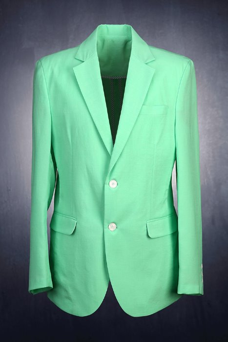 Classic Notched Lapel Collar 2 Buttons Mint Green Jacket