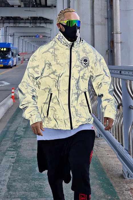 ByTheR High Neck Embroidered Camo Scotch Windbreaker
