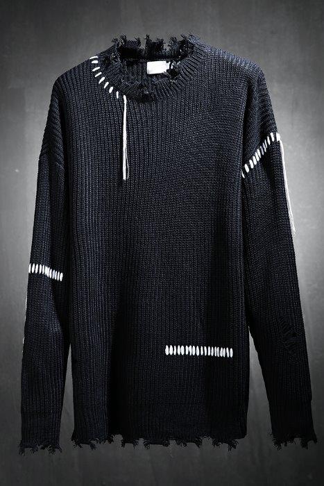 cut damage stitch loose fit knit