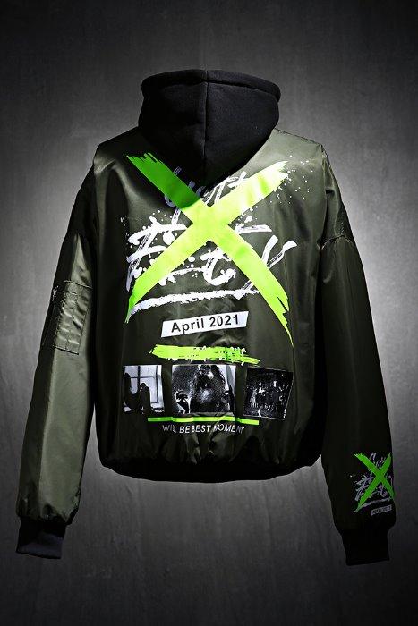 ByTheRX Graffiti Hood Removable Bomber Jacket