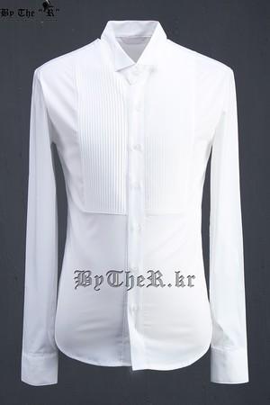 ByTheR 胸部褶皱时尚白衬衫