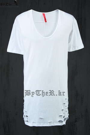 ByTheR Scoop Neck Distressed Short Sleeve T-Shirt