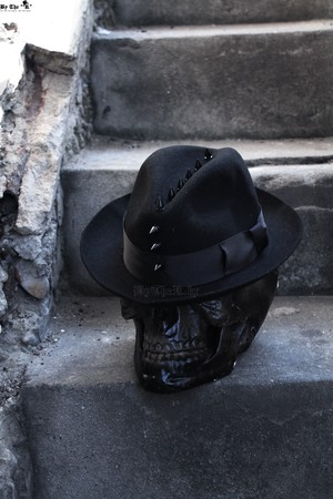 ByTheR Mohican Style Black Studded Custom Detail Fedora Hat