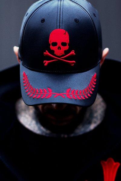 ByTheR Laurel Leaf Skull Leather BallCap