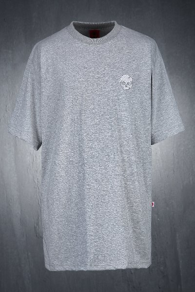 ByTheRByTheR Skull Embroidery Loose Fit Short Sleeve Tee Gray