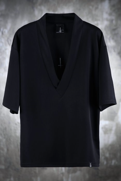 ProjectR Deep V-Neck T with Reversed Cross Emb