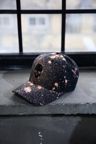 ByTheR Custom Dot Bleach Skull Embroidery Ball Cap Black