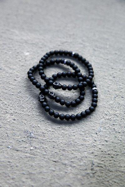 骷髏頭黑色串珠手鍊