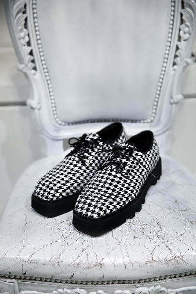 Check Square Toe Derby Shoes