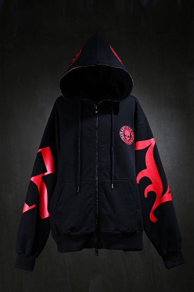 ByTheRJacketByTheR Skull Lettering Red Hooded Zip-Up