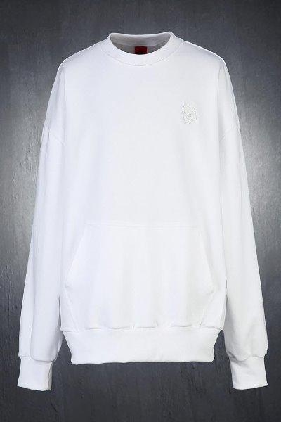 ByTheRスカル刺繍カンガルーポケットスウェット(ホワイト)