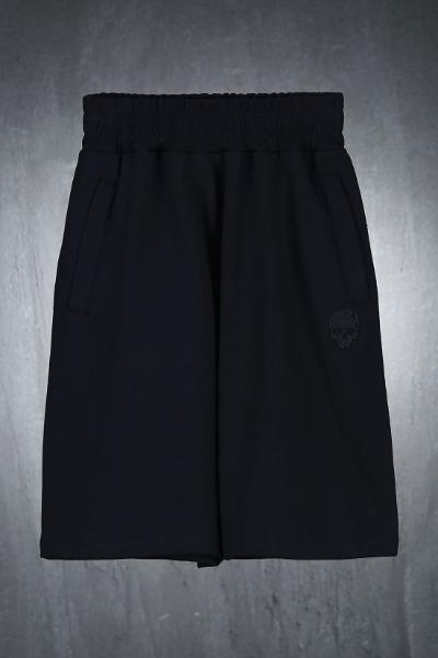 ByTheRスカル刺繍コットンルーズハーフパンツ(ブラック)