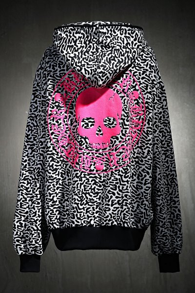 ByTheRByTheR Drill Pattern Pink Skull Logo Hooded Zip-Up