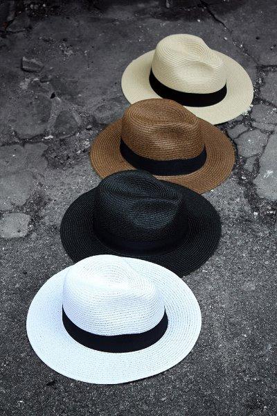 ByTheR Dark Ribbon Straw Panama Fedora Hat