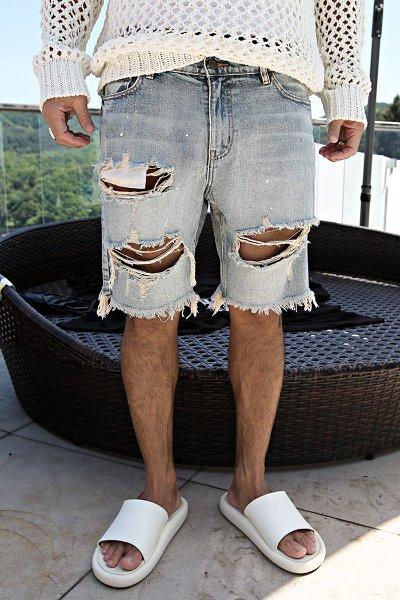 Heavy Destroyed Denim Shorts