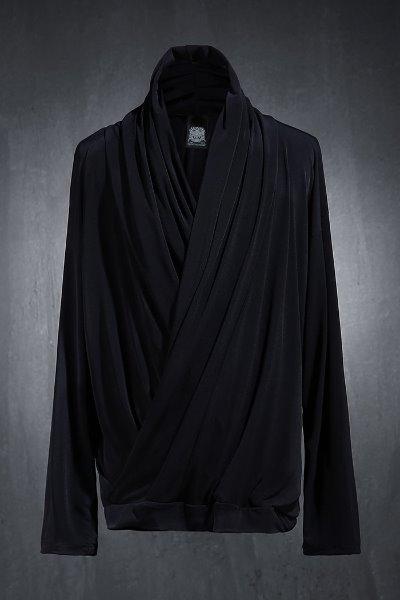 Mukha 쿨스판 강연 사선 셔링 브이넥 티셔츠
