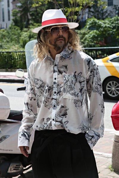 Flower Printed Long Sleeve See Through Shirt