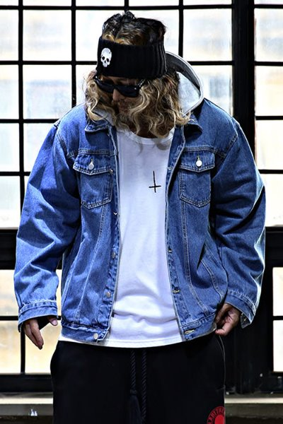 Hooded and Removable Loose Fit Denim Jacket
