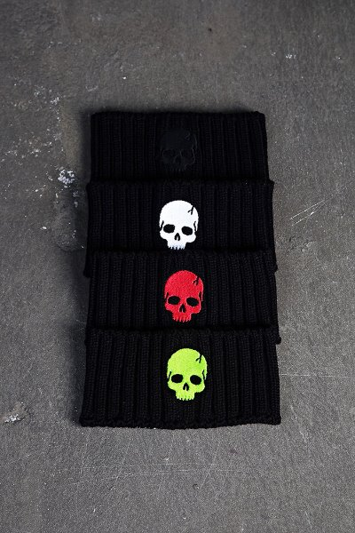 ByTheR Skull Embroidered Wide Knit Headband