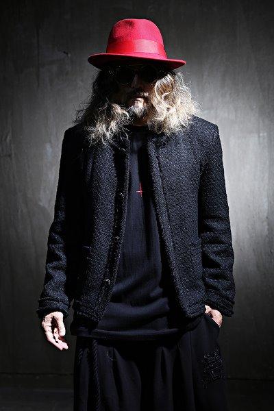 Tweed Blazer Jacket Collarless Loose Fit