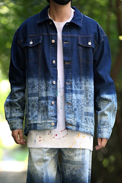 Paisley Gradient Loose Fit Denim Jacket