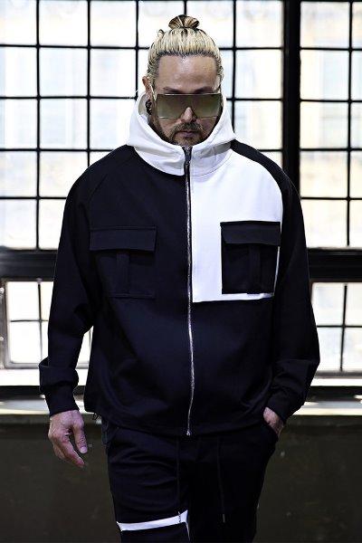 ByTheRUnbalanced pocket color scheme raglan hood zip-up