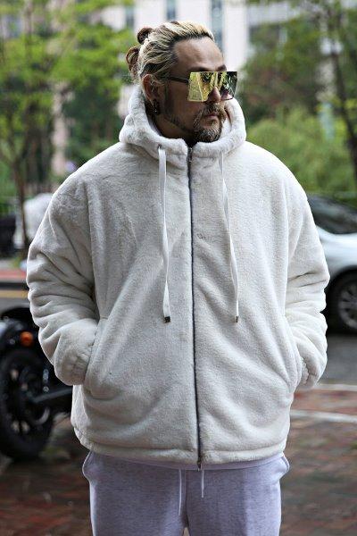 mink fur two-way zip hood zip-up