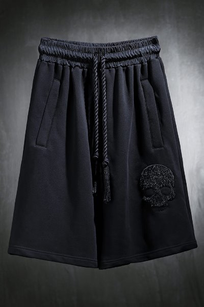 ByTheR Calf Skull Embroidered Banding Shorts