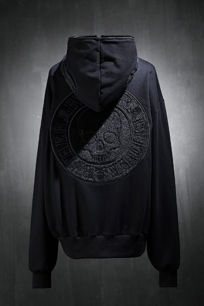 ByTheRByTheR Calf Skull Embroidered Pull-Up Hooded Zip-Up