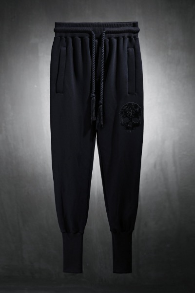 ByTheR Calf Skull Embroidery Over Banding Jogger Pants