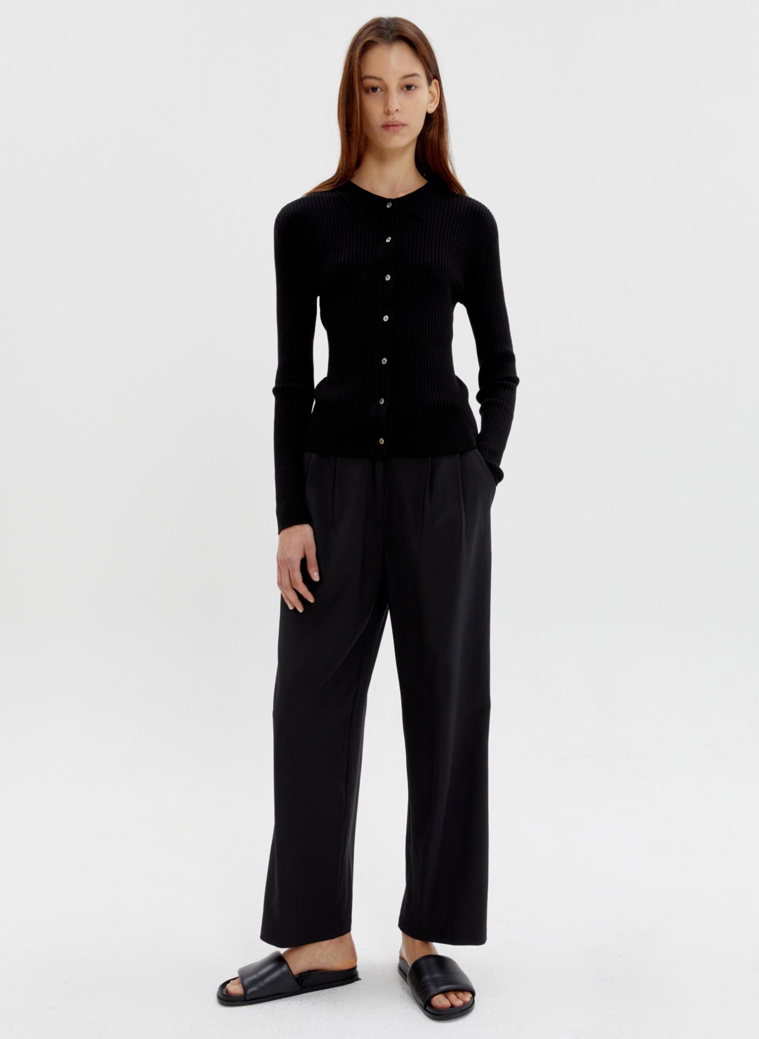 Modal collar knit cardigan black
