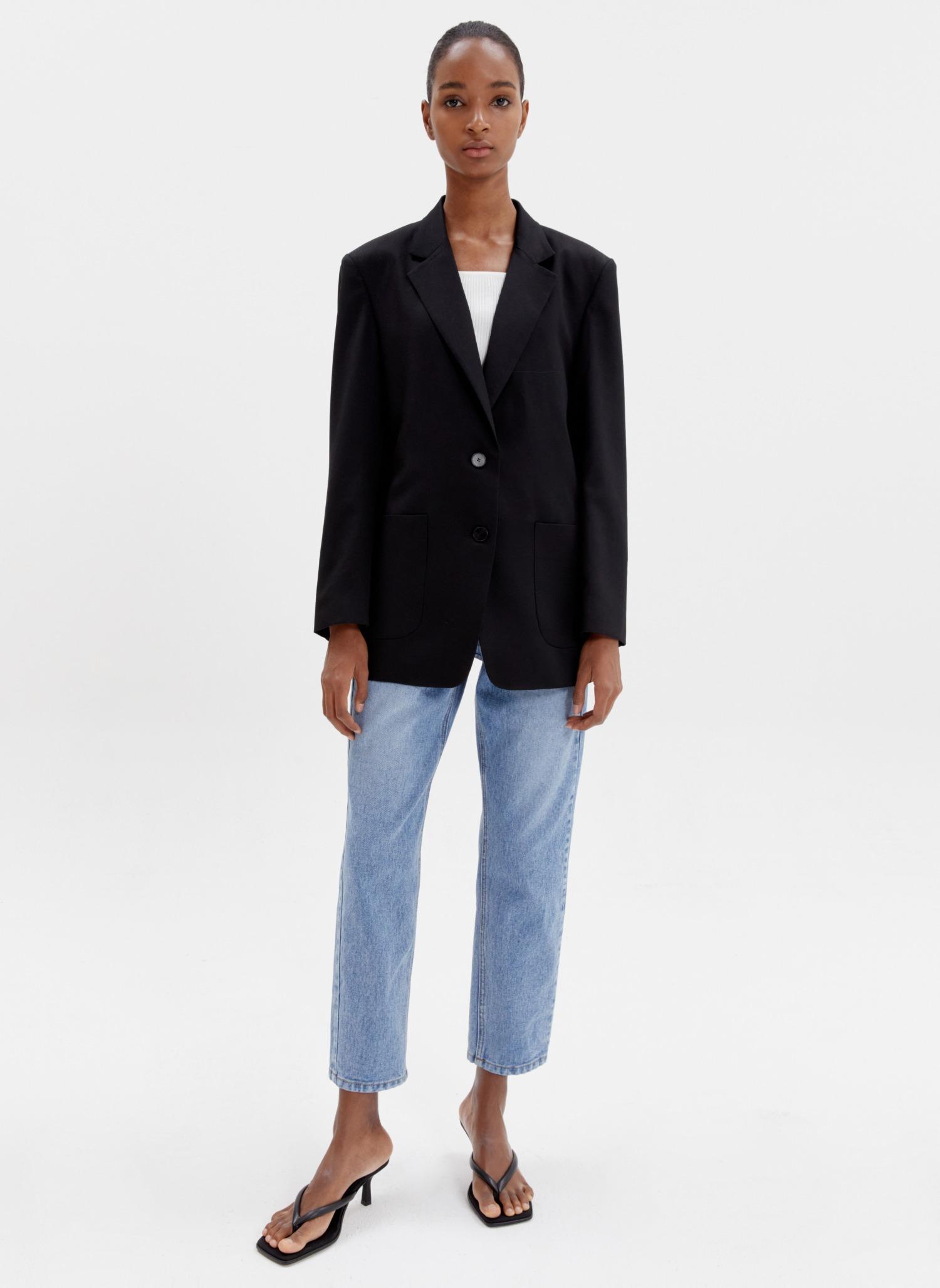 Oversized wool blazer black