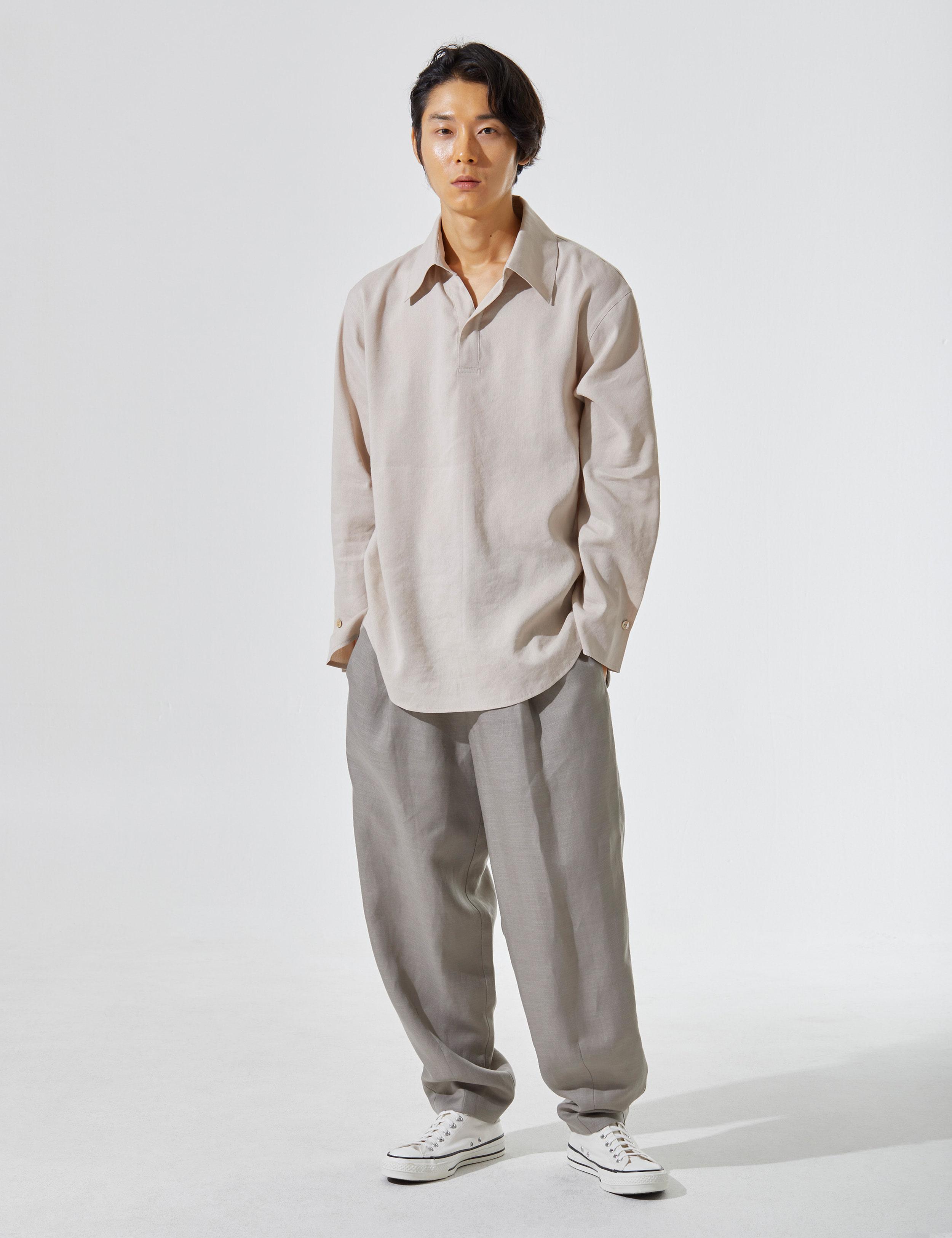 N.7 Waist wide pants Khaki gray