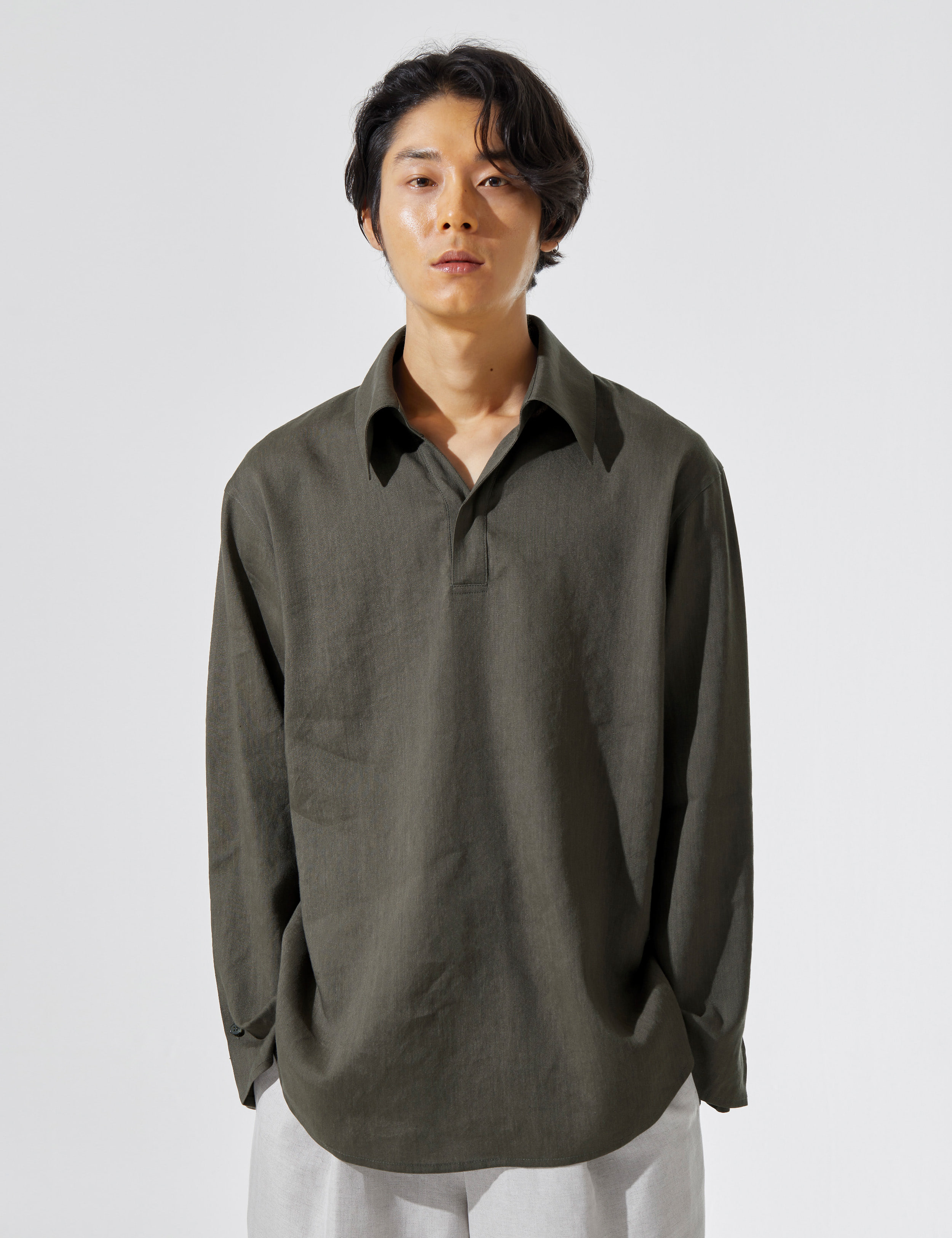 N.7 Wide lapel shirt Khaki