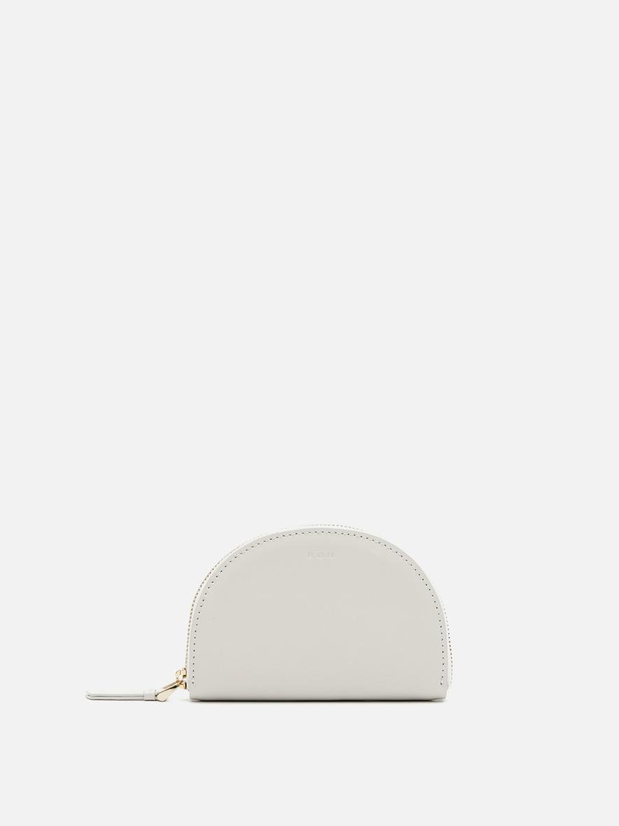 Half moon card zip wallet Ivory